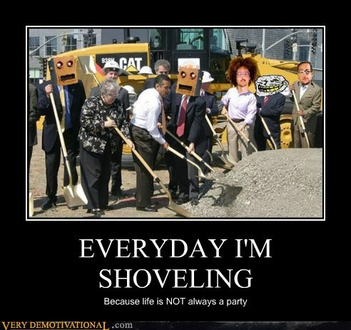 hilarious Party shoveling shufflin