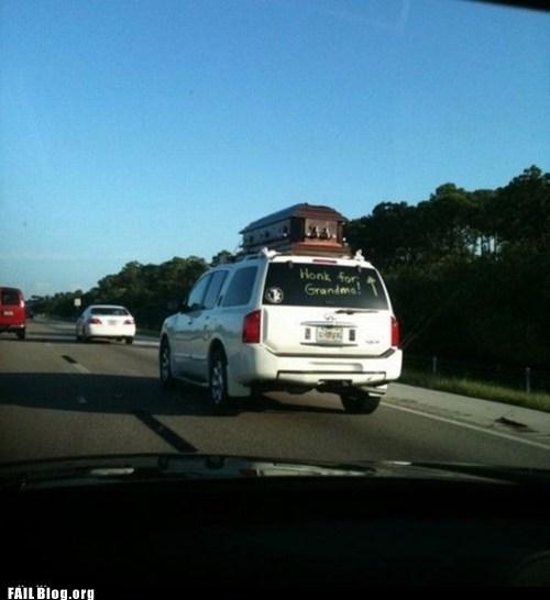 cars coffin funeral grandma honk respect fail nation - 5490830336