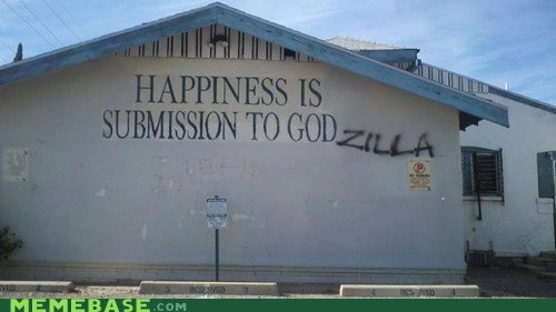 church god godzilla happiness troll face - 5490891520
