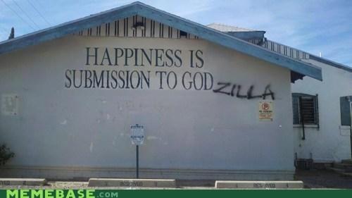 church god godzilla happiness troll face - 5490891520