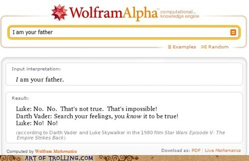 i am your father,Luke,star wars,vader,wolfram alpha