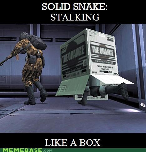 box,Like a Boss,metal gear,orange box,snake,stalking,stealing,valve,video games