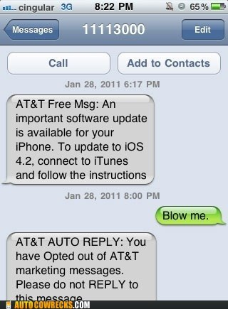 att AutocoWrecks blow me g rated Hall of Fame mobile phone spam text messaging - 5492271360