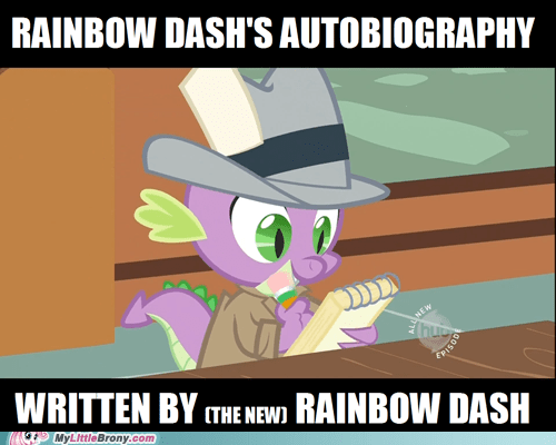 autobiography,one step ahead,ponies,rainbow dash,spike