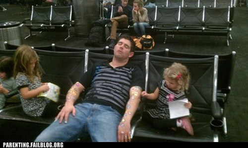 airport decoration Parenting Fail prank sleeping stickers trick