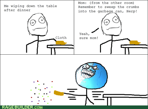best of week,crumbs,i lied,Rage Comics,table,wipe