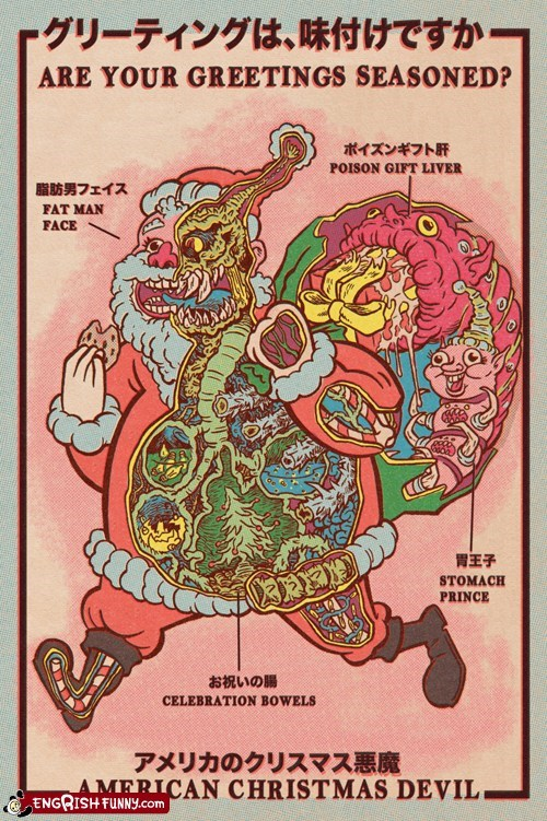 american christmas devil,evil santa,greetings seasoned