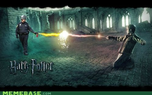 cops,Harry Potter,magic,Pepper Spray Cop,voldemort,wand