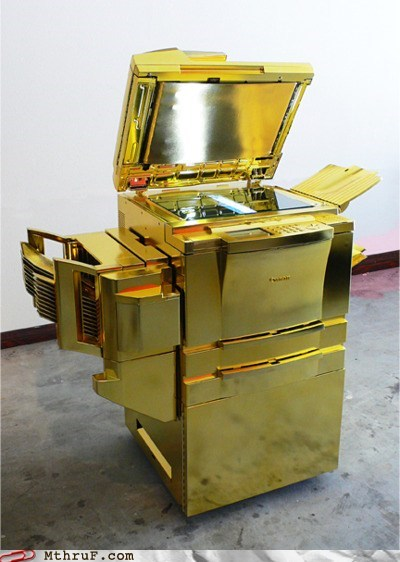 gold plated printer,Indiana Jones,office swag,vacation