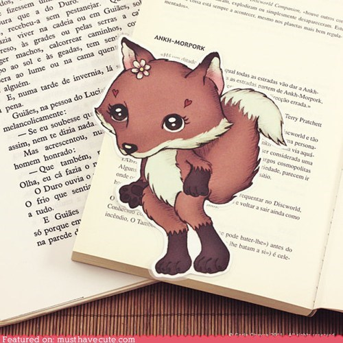 bookmark,fox,hearts,laminated