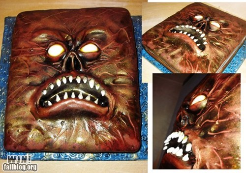 cake,dessert,evil dead,food,horror,necronomicon,nerdgasm,noms