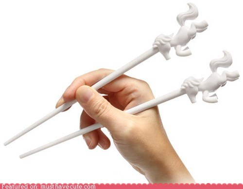 chopsticks eating horns unicorns utensils - 5493145088