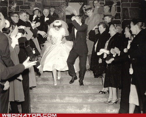1940s,bride,funny wedding photos,groom,Historical,retro wedding,rice,vintage