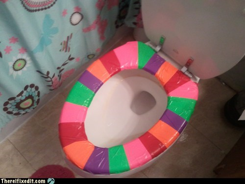 colorful,duct tape,toilet