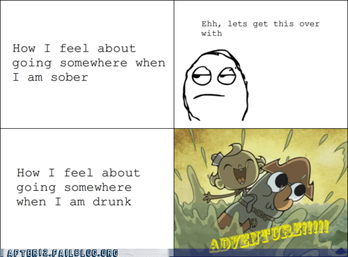 adventure,after 12,beer,beer goggles,drunk,flapjack,going out,rage comic