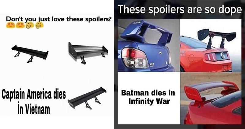 Funny spoilers memes, cars, lego, captain america, obi-wan, star wars, avengers spoilers.