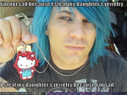 hello kitty,Sad,stealing,weird kid