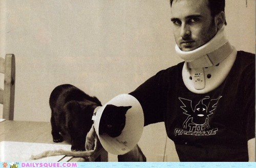 accident,acting like animals,brace,cat,cone of shame,human,injury,neck,solidarity,twins