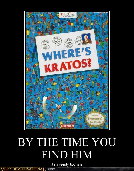 art book hilarious kratos wheres waldo