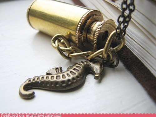 accessories,brass,chain,gift guide,Jewelry,necklace,pendant,seahorse,spyglass