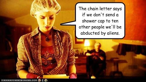 allison scagliotti arifact artie chain letter claudia donovan saul rubinek shower caps warehouse 13 - 5494792704