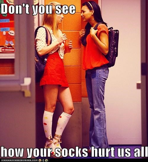fashion,glee,heather morris,naya rivera,socks,ugly