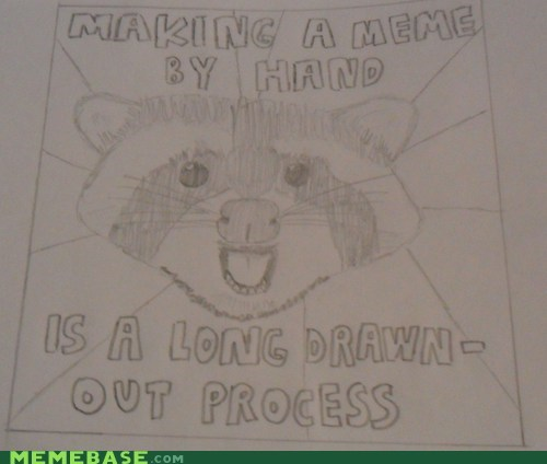 DIY double meaning drawn drawn out handmade Lame Pun Coon meme pencil process - 5495943680
