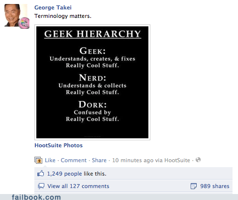 dork geek george takei hierarchy nerd win
