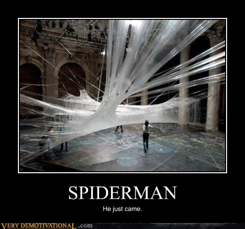 art hilarious shot Spider-Man superheroes web - 5496086528