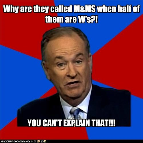 bill-oreilly,candy,double yous,m and ms,Mars,ms,Ws