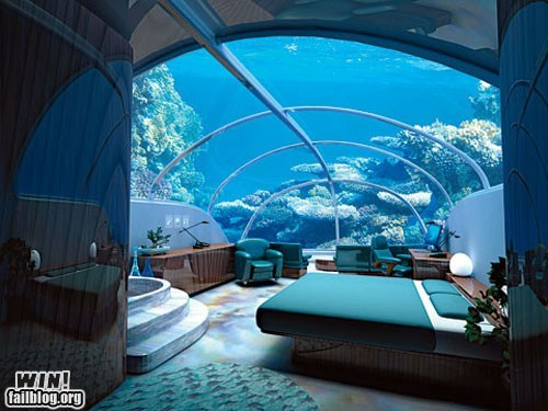 bed,design,hotel,ocean,underwater