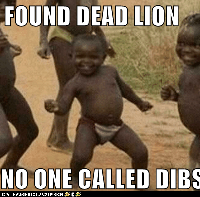 FOUND DEAD LION NO ONE CALLED DIBS