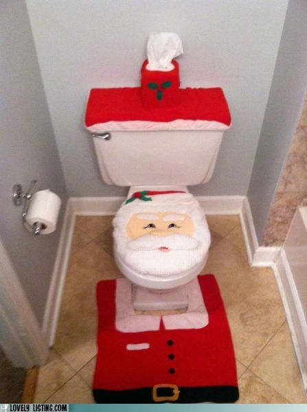 awful,christmas,decor,santa,scary,toilet