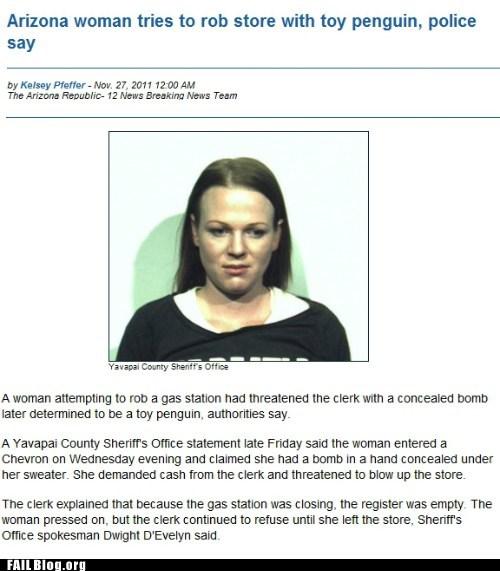 penguin Probably bad News robbery stupid criminals - 5496741376