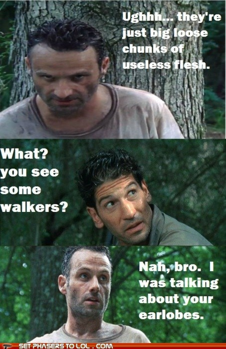 andrew garfield,earlobes,flesh,Jon Bernthal,rick crimes,shane walsh,useless,walkers,zombie