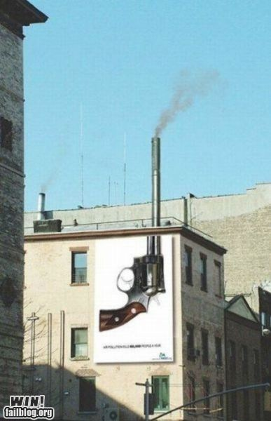 advertisement,clever,climate change,gun,hacked irl,pollution,smoke stack