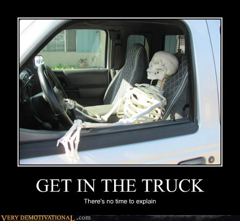 get in,skeleton,Terrifying,truck