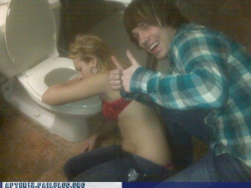 breakup drunk ex boyfriends passed out puking relationships thumbs up toilet - 5497382400