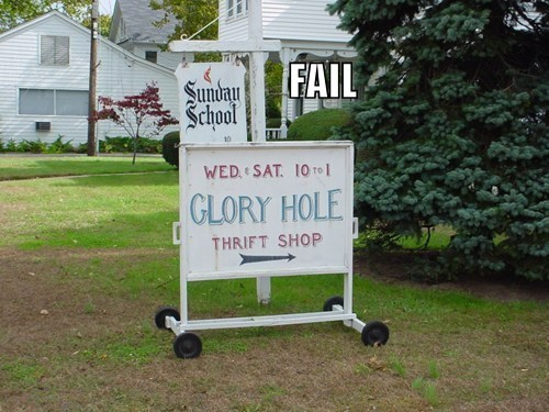 glory hole innuendo juxtaposition religion signs