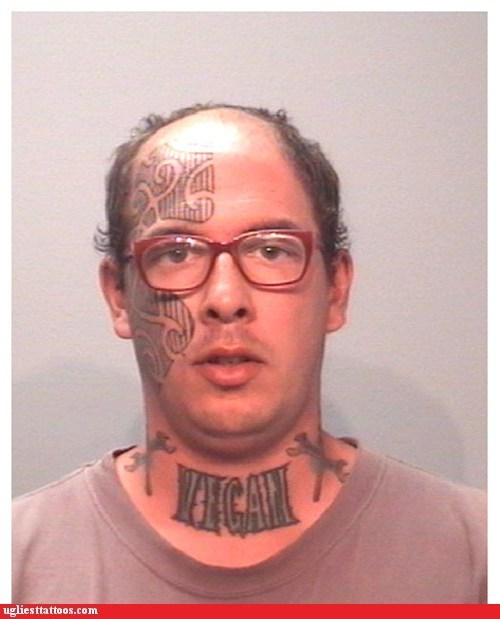face tattoos,g rated,glasses,Ugliest Tattoos,vegan,wrench