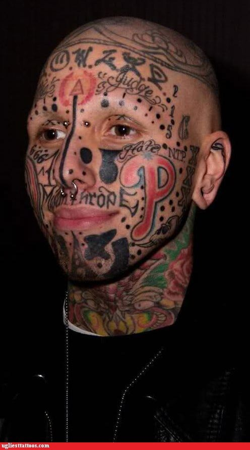 face tats hometown pride numbers piercings sports words - 5499758080
