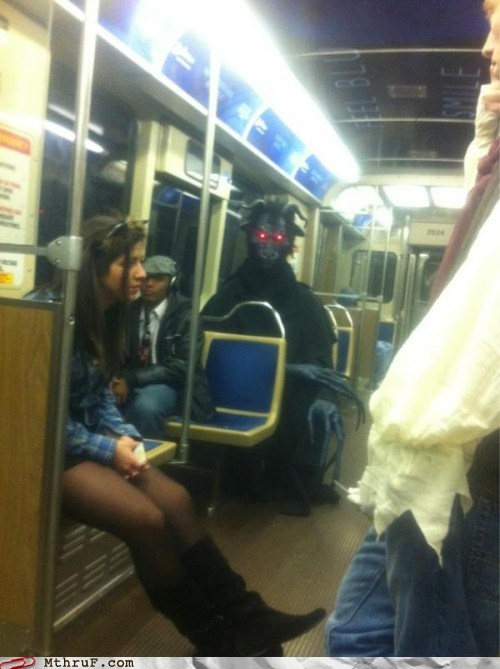 evil costume selling your,evil costume selling your soul,M thru F,mass transit,morning commute,Office,work