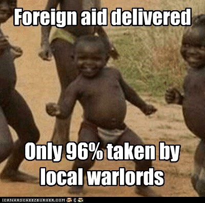 Foreign aid delivered Only 96% taken by local warlords