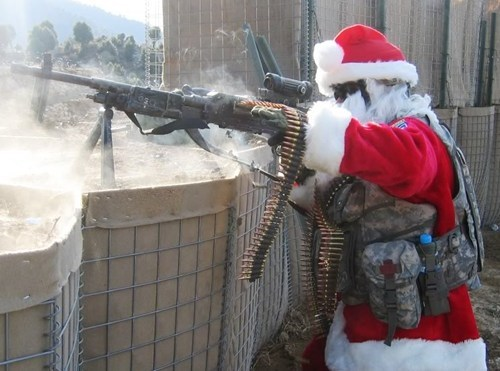 afghanistan,firepower,guns,iraq,machine gun,military,santa