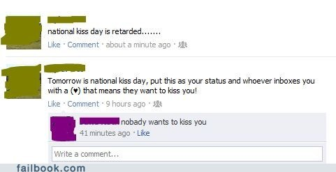 forever alone,holiday,KISS,oh snap,umad