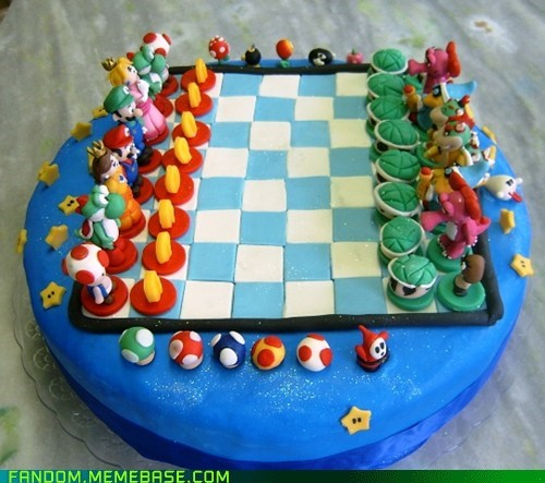 cake,chess,Fan Art,Super Mario bros