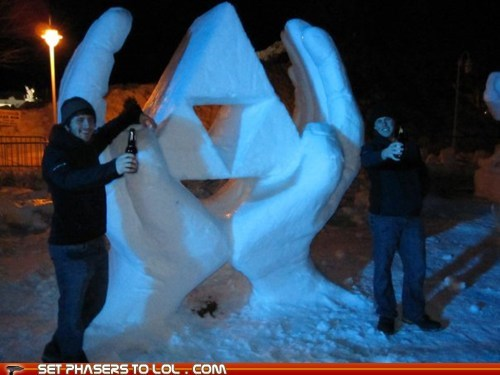 contest,fantasy,legend of zelda,sculpture,snow art,triforce,video games