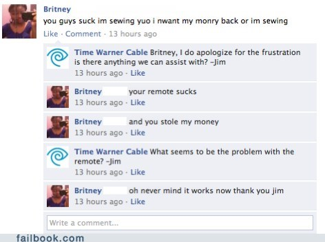 cable company customer service facepalm failbook g rated spelling - 5500959488
