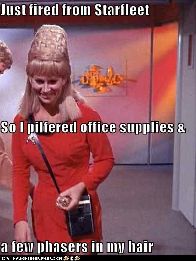 fired,grace lee whitney,hair,janice rand,office supplies,phasers,Star Trek