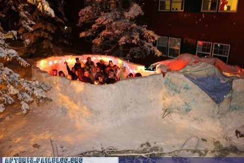 awesome,creative,dancing,lights,Party,snow,snow fort,win